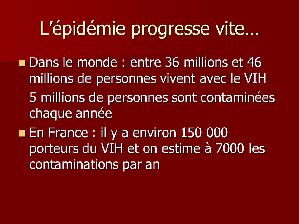 Lépidémie progresse vite… Dans le monde : entre 36 millions et 46 millions de personnes vivent avec le VIH Dans le monde : entre 36 millions et 46 millions de personnes vivent avec le VIH 5 millions de personnes sont contaminées chaque année En France : il y a environ 150 000 porteurs du VIH et on estime à 7000 les contaminations par an En France : il y a environ 150 000 porteurs du VIH et on estime à 7000 les contaminations par an
