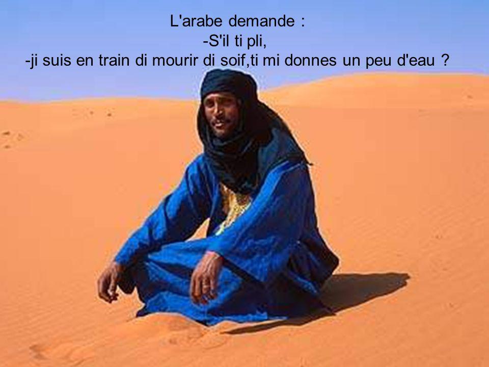 L arabe demande : -S il ti pli, -ji suis en train di mourir di soif,ti mi donnes un peu d eau ?