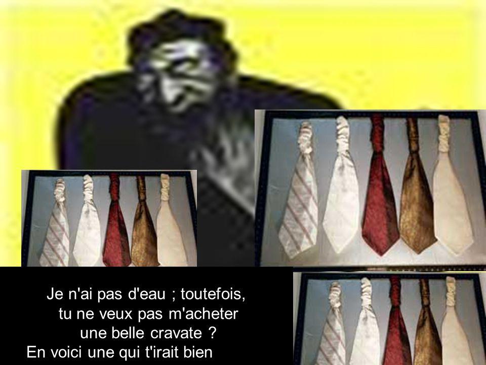 Je n ai pas d eau ; toutefois, tu ne veux pas m acheter une belle cravate .