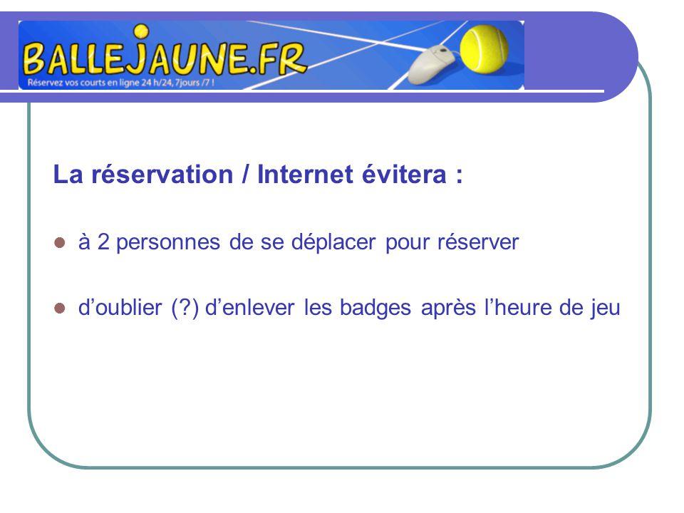 La réservation / Internet évitera : à 2 personnes de se déplacer pour réserver doublier (?) denlever les badges après lheure de jeu