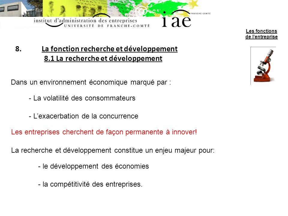 8.La fonction recherche et développement 8.1 La recherche et développement Dans un environnement économique marqué par : - La volatilité des consommat