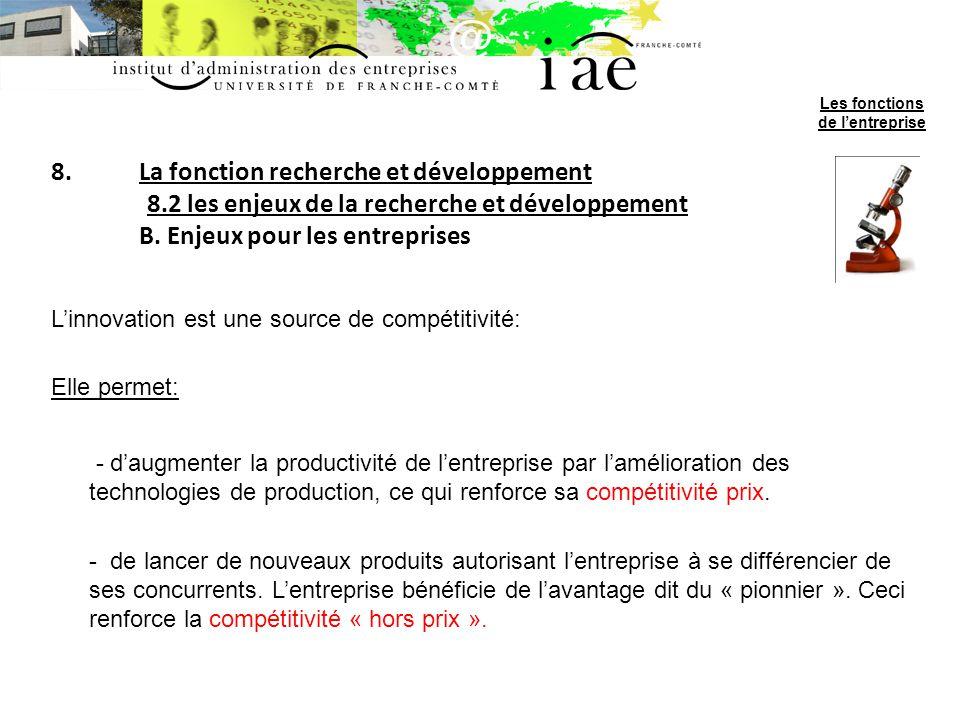 8.La fonction recherche et développement 8.2 les enjeux de la recherche et développement B. Enjeux pour les entreprises Linnovation est une source de