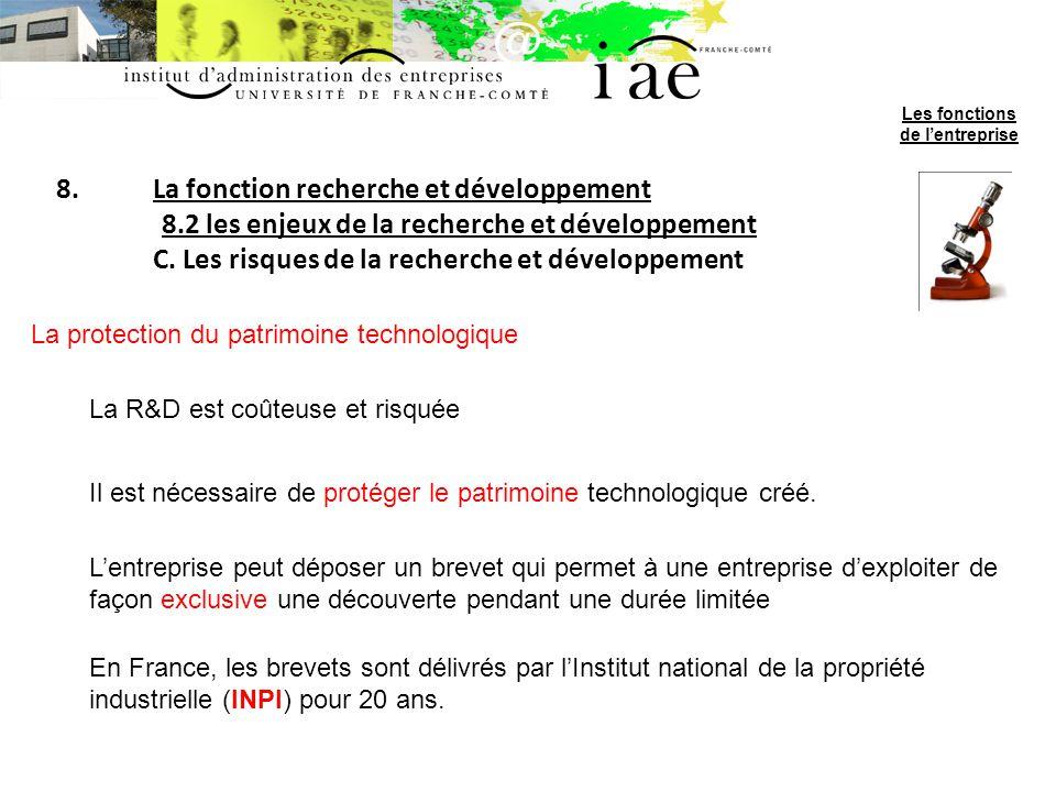 8.La fonction recherche et développement 8.2 les enjeux de la recherche et développement C. Les risques de la recherche et développement La protection