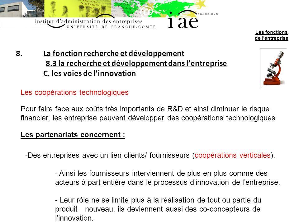 8.La fonction recherche et développement 8.3 la recherche et développement dans lentreprise C. les voies de linnovation Les coopérations technologique