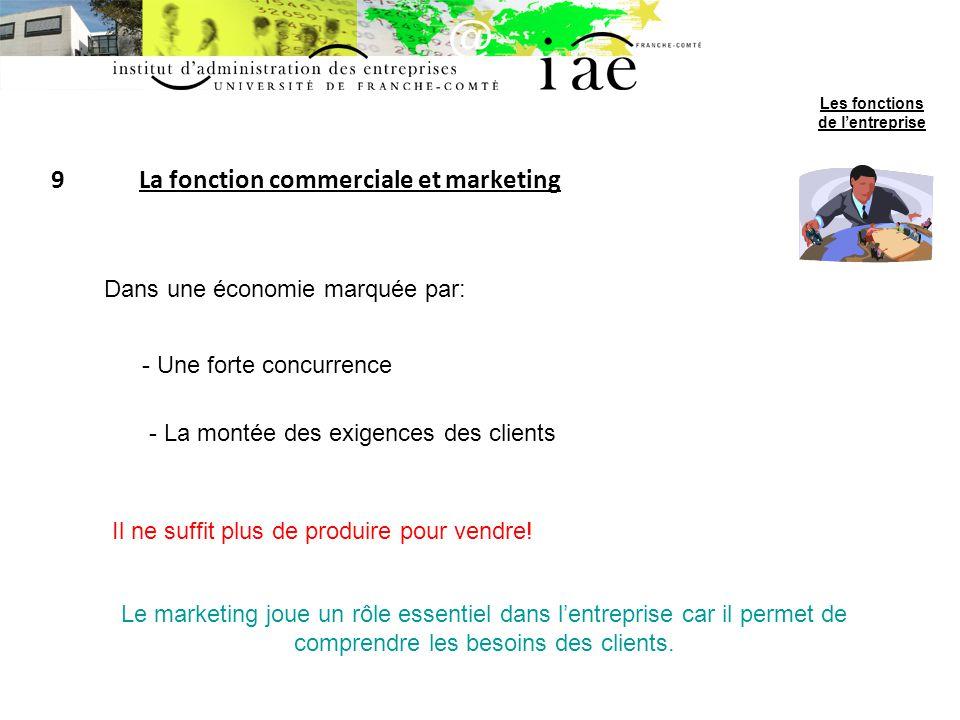 9La fonction commerciale et marketing Dans une économie marquée par: - Une forte concurrence - La montée des exigences des clients Il ne suffit plus d