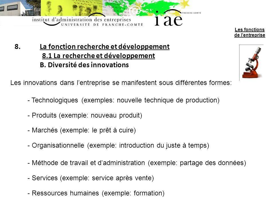 8.La fonction recherche et développement 8.1 La recherche et développement B. Diversité des innovations Les innovations dans lentreprise se manifesten