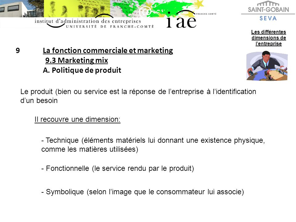 9La fonction commerciale et marketing 9.3 Marketing mix A. Politique de produit Les différentes dimensions de lentreprise Le produit (bien ou service