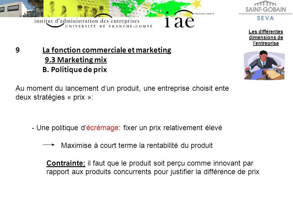 9La fonction commerciale et marketing 9.3 Marketing mix B. Politique de prix Les différentes dimensions de lentreprise Au moment du lancement dun prod