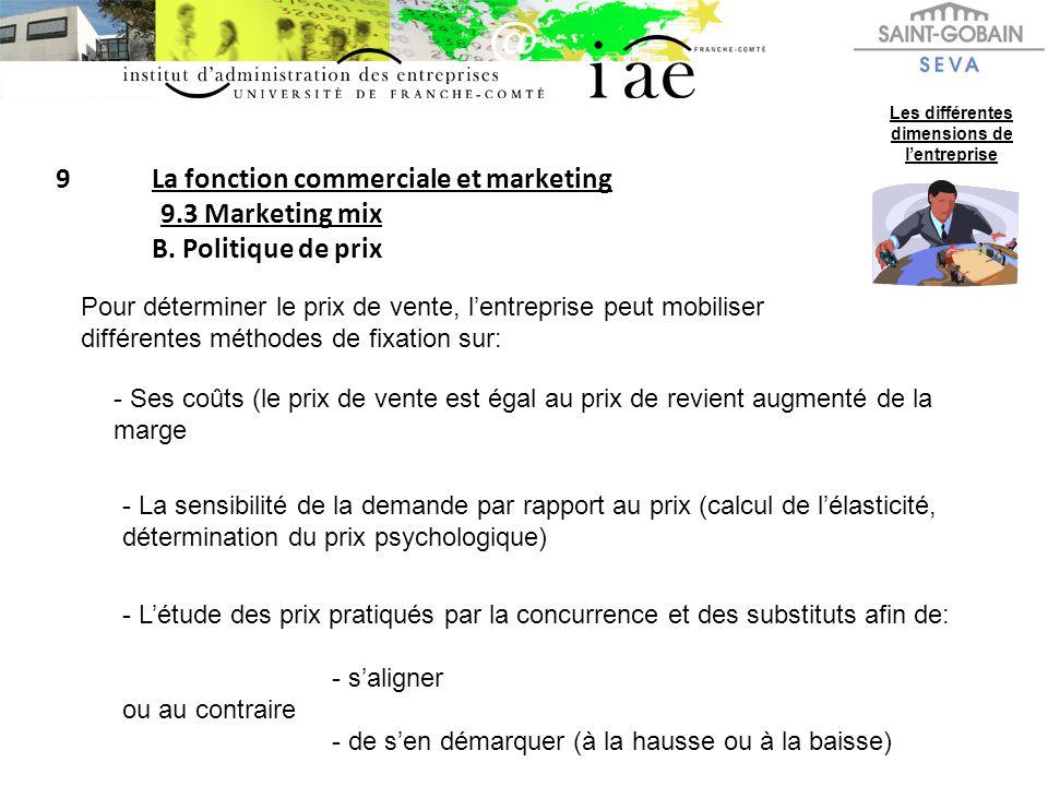 9La fonction commerciale et marketing 9.3 Marketing mix B. Politique de prix Les différentes dimensions de lentreprise Pour déterminer le prix de vent