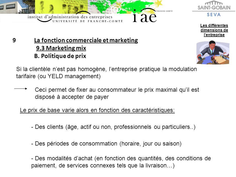 9La fonction commerciale et marketing 9.3 Marketing mix B. Politique de prix Les différentes dimensions de lentreprise Si la clientèle nest pas homogè