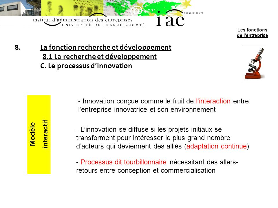 8.La fonction recherche et développement 8.1 La recherche et développement C. Le processus dinnovation Modèle interactif - Innovation conçue comme le
