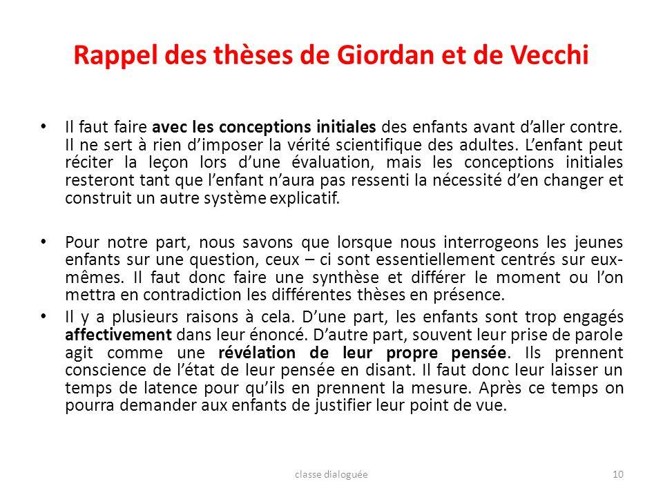 Rappel des thèses de Giordan et de Vecchi Il faut faire avec les conceptions initiales des enfants avant daller contre. Il ne sert à rien dimposer la