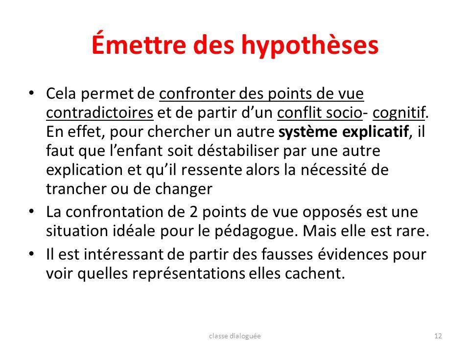Émettre des hypothèses Cela permet de confronter des points de vue contradictoires et de partir dun conflit socio- cognitif. En effet, pour chercher u