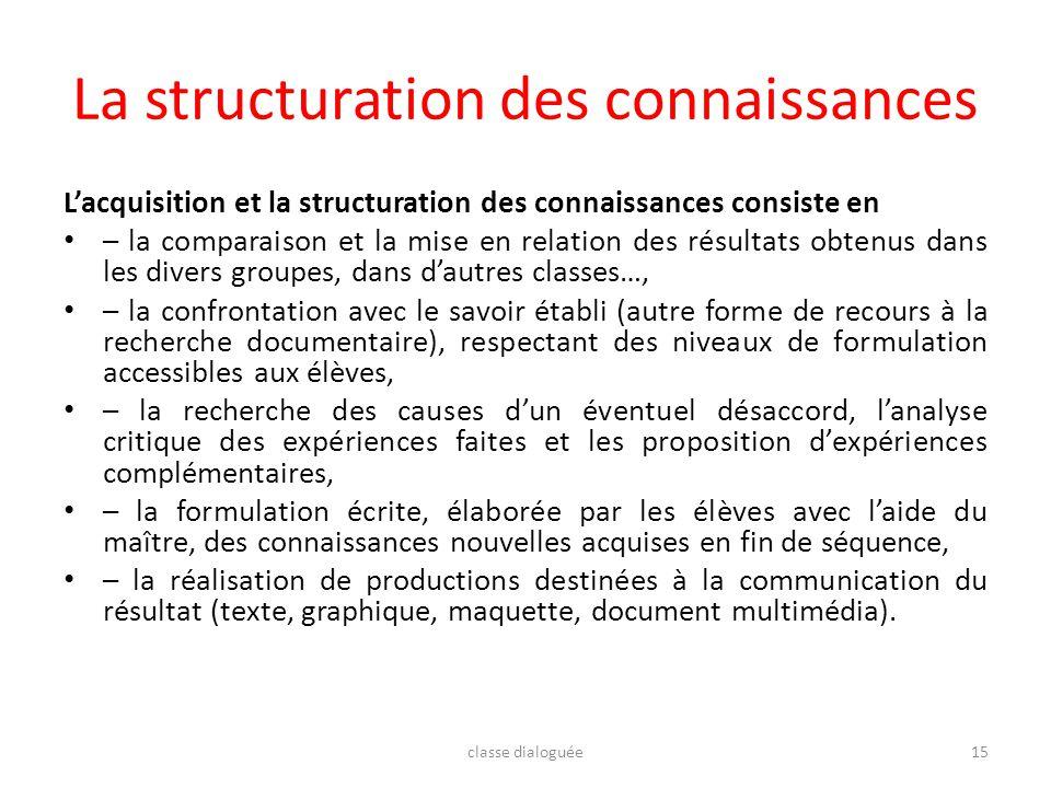 La structuration des connaissances Lacquisition et la structuration des connaissances consiste en – la comparaison et la mise en relation des résultat