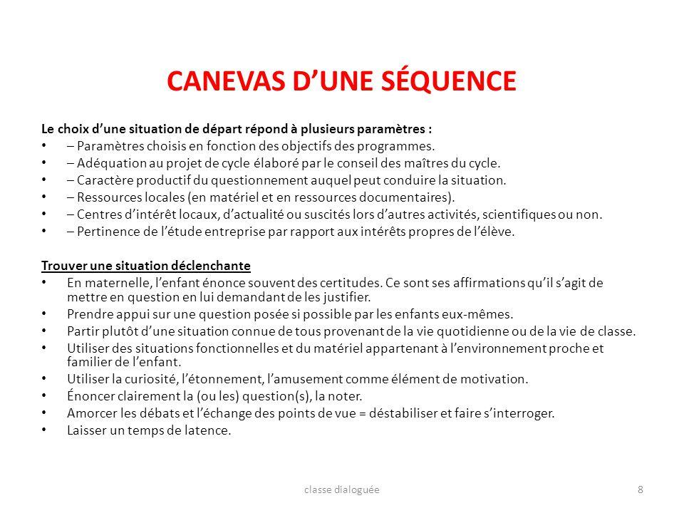 CANEVAS DUNE SÉQUENCE Le choix dune situation de départ répond à plusieurs paramètres : – Paramètres choisis en fonction des objectifs des programmes.