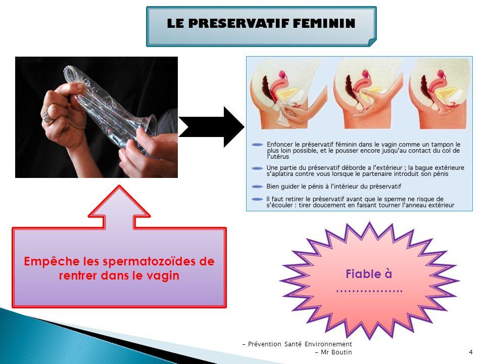 - Prévention Santé Environnement - Mr Boutin5 Fiable à ………… LE PRESERVATIF MASCULIN Empêche les spermatozoïdes de rentrer dans le vagin