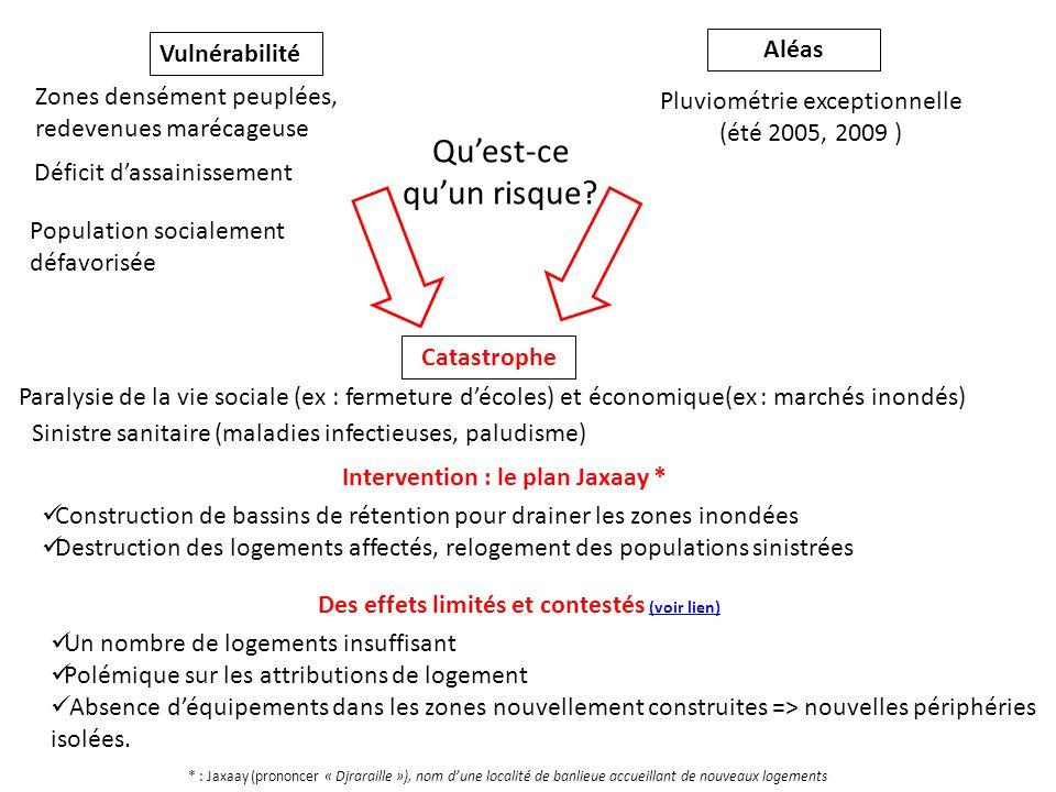 Vulnérabilité Aléas Zones densément peuplées, redevenues marécageuse Pluviométrie exceptionnelle (été 2005, 2009 ) Catastrophe Paralysie de la vie soc