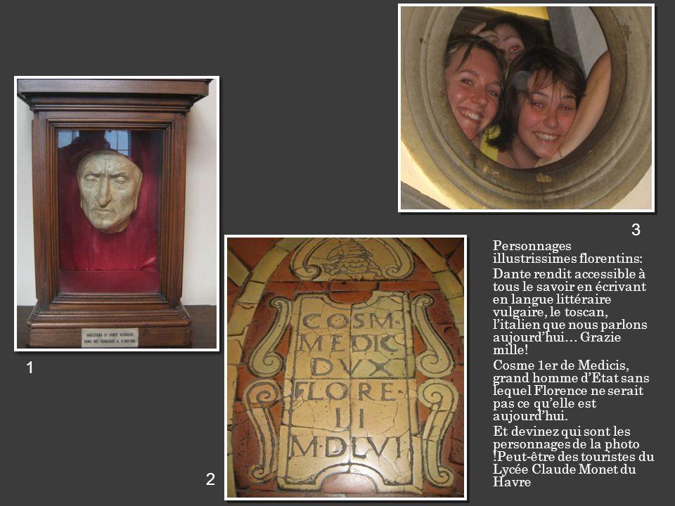 Personnages illustrissimes florentins: Dante rendit accessible à tous le savoir en écrivant en langue littéraire vulgaire, le toscan, litalien que nous parlons aujourdhui… Grazie mille.