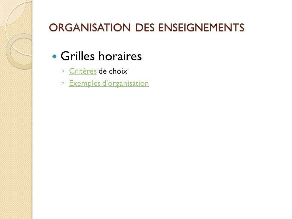 ORGANISATION DES ENSEIGNEMENTS Grilles horaires Critères de choix Critères Exemples d'organisation
