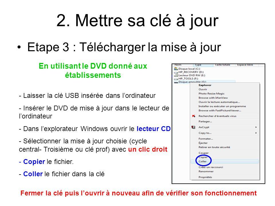 2. Mettre sa clé à jour Etape 3 : Télécharger la mise à jour En utilisant le DVD donné aux établissements - Laisser la clé USB insérée dans lordinateu