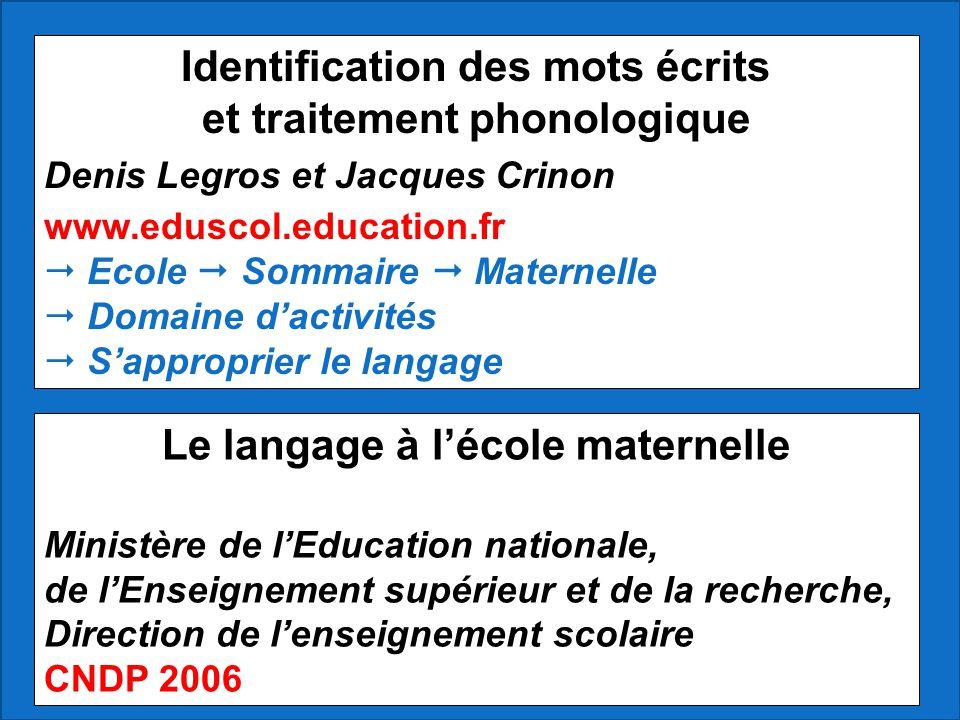 Identification des mots écrits et traitement phonologique Denis Legros et Jacques Crinon www.eduscol.education.fr Ecole Sommaire Maternelle Domaine da