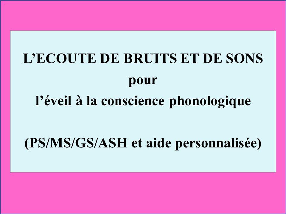 LECOUTE DE BRUITS ET DE SONS pour léveil à la conscience phonologique (PS/MS/GS/ASH et aide personnalisée)