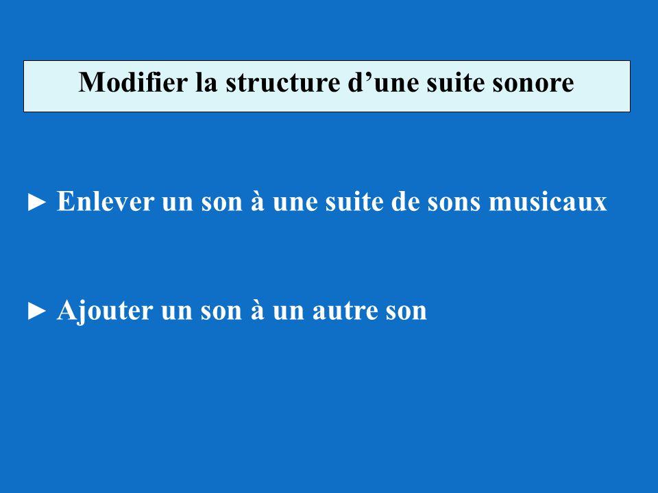 Modifier la structure dune suite sonore Enlever un son à une suite de sons musicaux Ajouter un son à un autre son