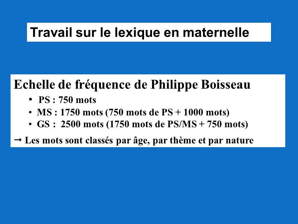 Travail sur le lexique en maternelle Echelle de fréquence de Philippe Boisseau PS : 750 mots MS : 1750 mots (750 mots de PS + 1000 mots) GS : 2500 mot