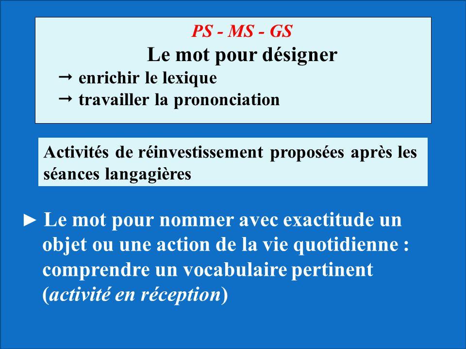PS - MS - GS Le mot pour désigner enrichir le lexique travailler la prononciation Le mot pour nommer avec exactitude un objet ou une action de la vie