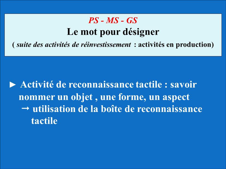 Activité de reconnaissance tactile : savoir nommer un objet, une forme, un aspect utilisation de la boîte de reconnaissance tactile PS - MS - GS Le mo
