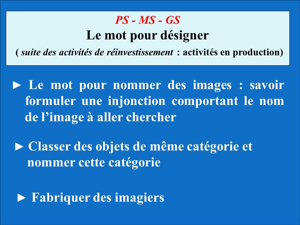 Le mot pour nommer des images : savoir formuler une injonction comportant le nom de limage à aller chercher PS - MS - GS Le mot pour désigner ( suite
