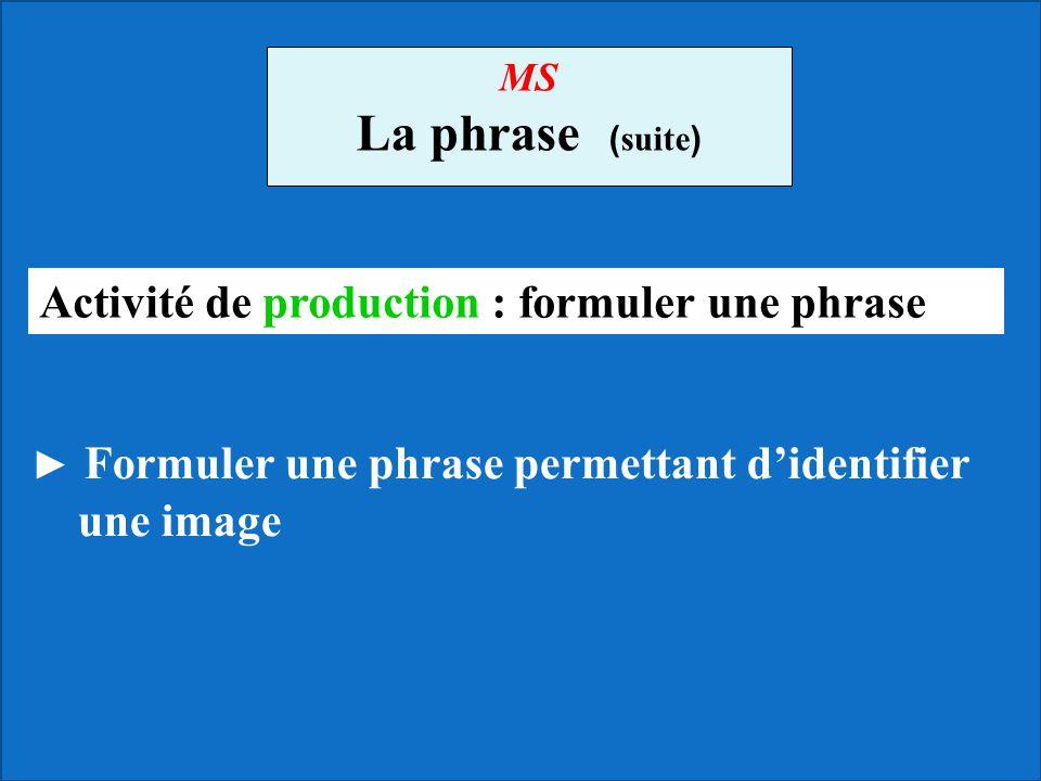 MS La phrase ( suite ) Formuler une phrase permettant didentifier une image Activité de production : formuler une phrase
