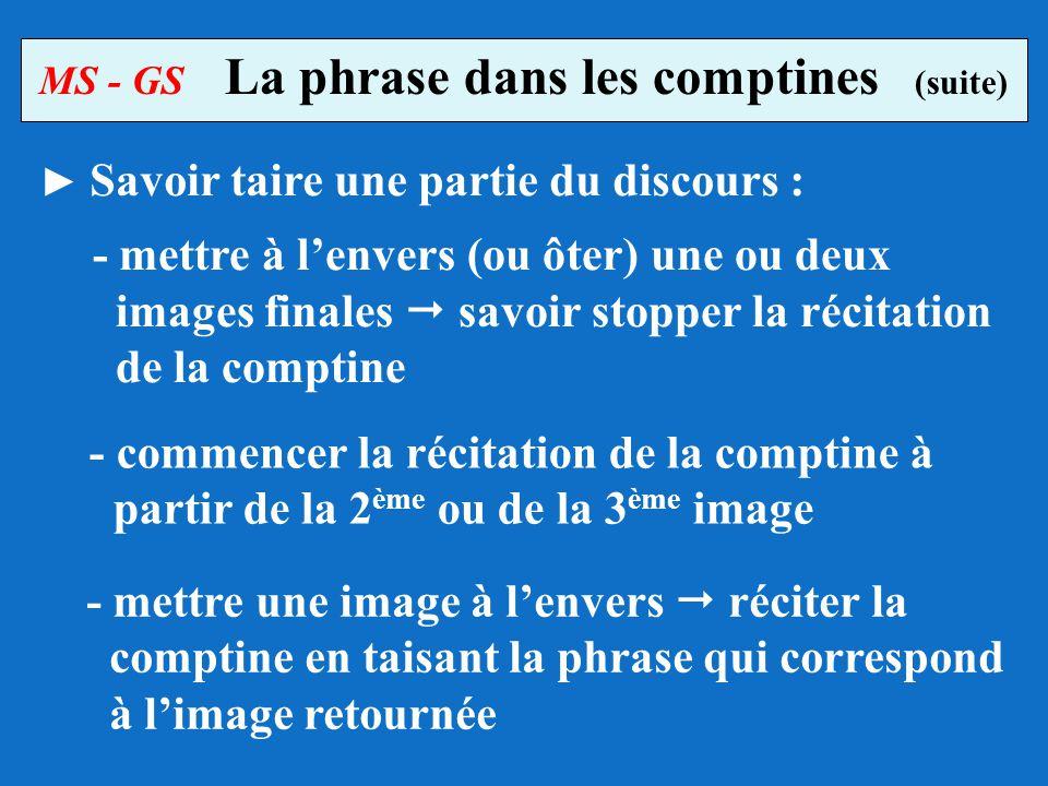 - mettre à lenvers (ou ôter) une ou deux images finales savoir stopper la récitation de la comptine MS - GS La phrase dans les comptines (suite) Savoi
