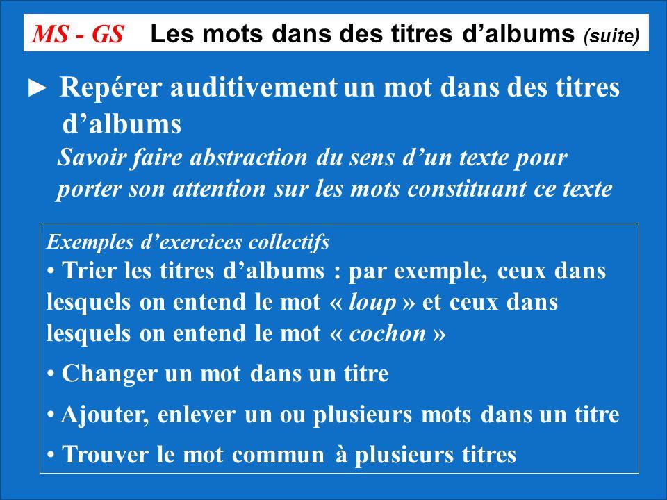 MS - GS Les mots dans des titres dalbums (suite) Repérer auditivement un mot dans des titres dalbums Savoir faire abstraction du sens dun texte pour p