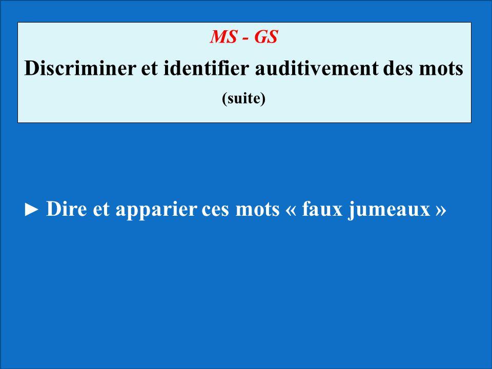 MS - GS Discriminer et identifier auditivement des mots (suite) Dire et apparier ces mots « faux jumeaux »