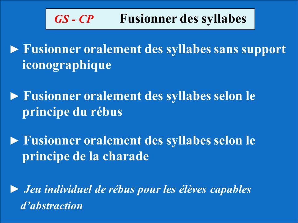 GS - CP Fusionner des syllabes Fusionner oralement des syllabes sans support iconographique Fusionner oralement des syllabes selon le principe du rébu