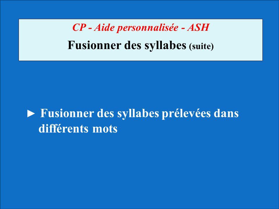 CP - Aide personnalisée - ASH Fusionner des syllabes (suite) Fusionner des syllabes prélevées dans différents mots