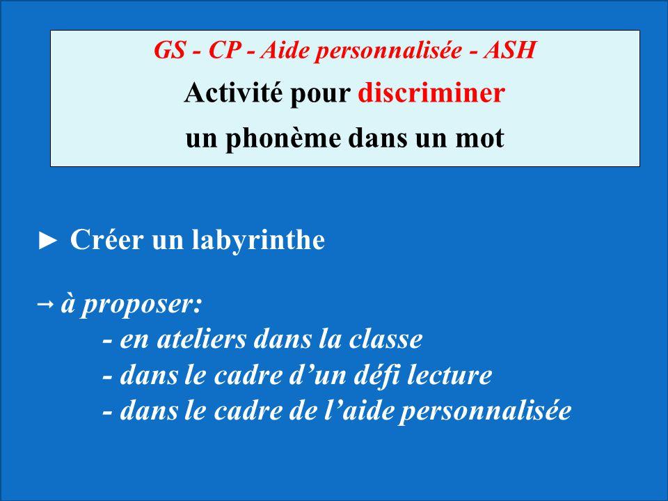 GS - CP - Aide personnalisée - ASH Activité pour discriminer un phonème dans un mot Créer un labyrinthe à proposer: - en ateliers dans la classe - dan