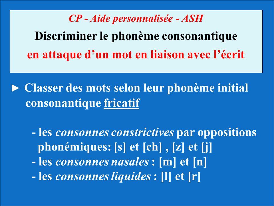 CP - Aide personnalisée - ASH Discriminer le phonème consonantique en attaque dun mot en liaison avec lécrit Classer des mots selon leur phonème initi