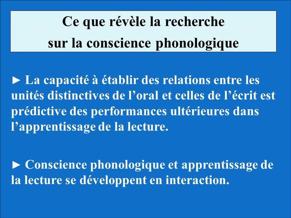 Ce que révèle la recherche sur la conscience phonologique La capacité à établir des relations entre les unités distinctives de loral et celles de lécr