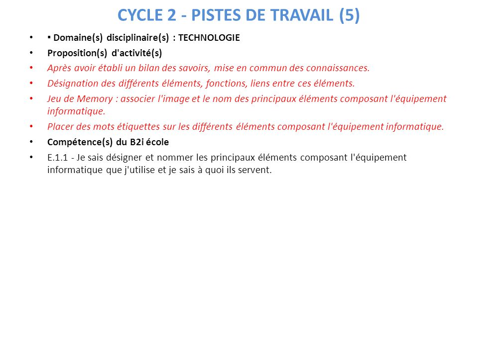CYCLE 2 - PISTES DE TRAVAIL (5) Domaine(s) disciplinaire(s) : TECHNOLOGIE Proposition(s) d'activité(s) Après avoir établi un bilan des savoirs, mise e