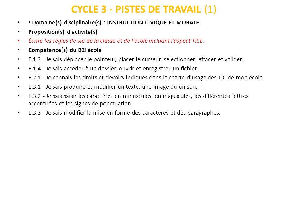 CYCLE 3 - PISTES DE TRAVAIL (2) Domaine(s) disciplinaire(s) : INSTRUCTION CIVIQUE ET MORALE Proposition(s) d activité(s) Mise en place de responsabilités dans le fonctionnement quotidien de la classe.