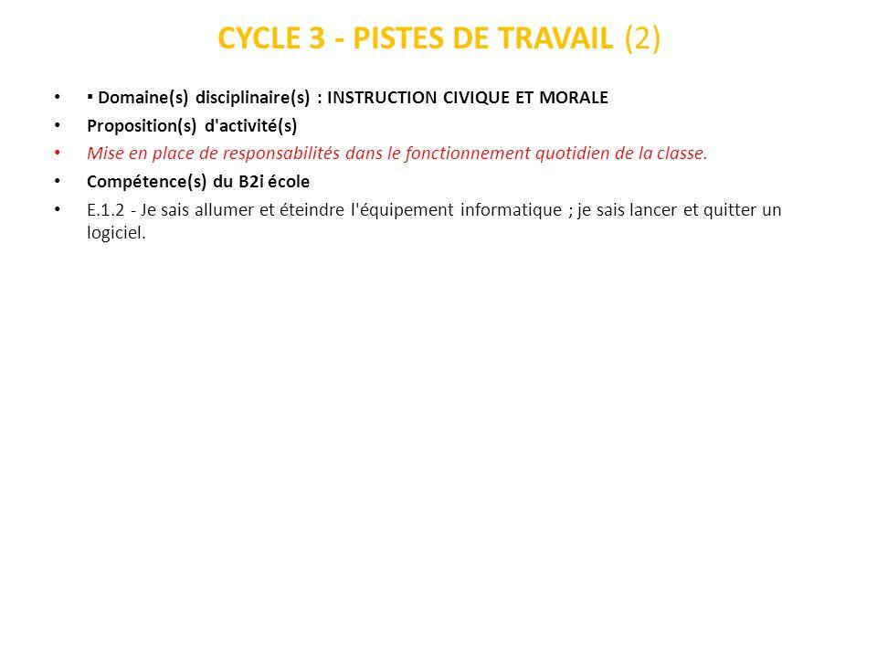 CYCLE 3 - PISTES DE TRAVAIL (2) Domaine(s) disciplinaire(s) : INSTRUCTION CIVIQUE ET MORALE Proposition(s) d'activité(s) Mise en place de responsabili