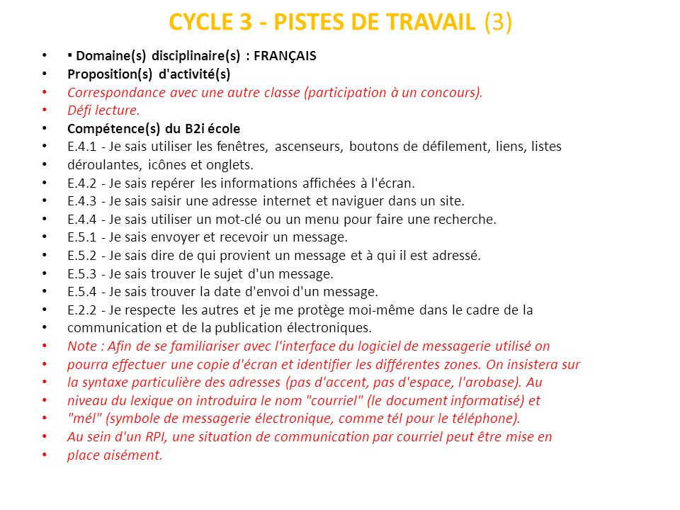 CYCLE 3 - PISTES DE TRAVAIL (3) Domaine(s) disciplinaire(s) : FRANÇAIS Proposition(s) d'activité(s) Correspondance avec une autre classe (participatio