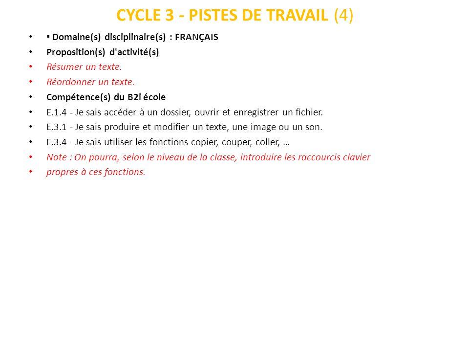 CYCLE 3 - PISTES DE TRAVAIL (5) Domaine(s) disciplinaire(s) : FRANÇAIS, HISTOIRE, GÉOGRAPHIE, SCIENCES Proposition(s) d activité(s) Mise en forme : production écrite, trace écrite d une leçon, exposé, affiche, correspondance papier.