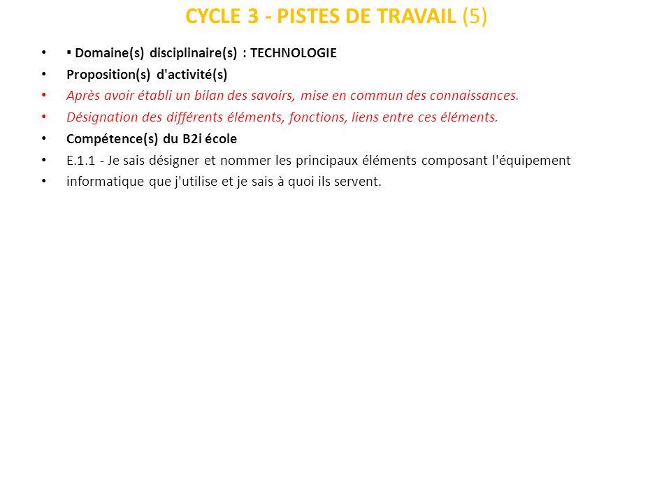 CYCLE 3 - PISTES DE TRAVAIL (5) Domaine(s) disciplinaire(s) : TECHNOLOGIE Proposition(s) d'activité(s) Après avoir établi un bilan des savoirs, mise e