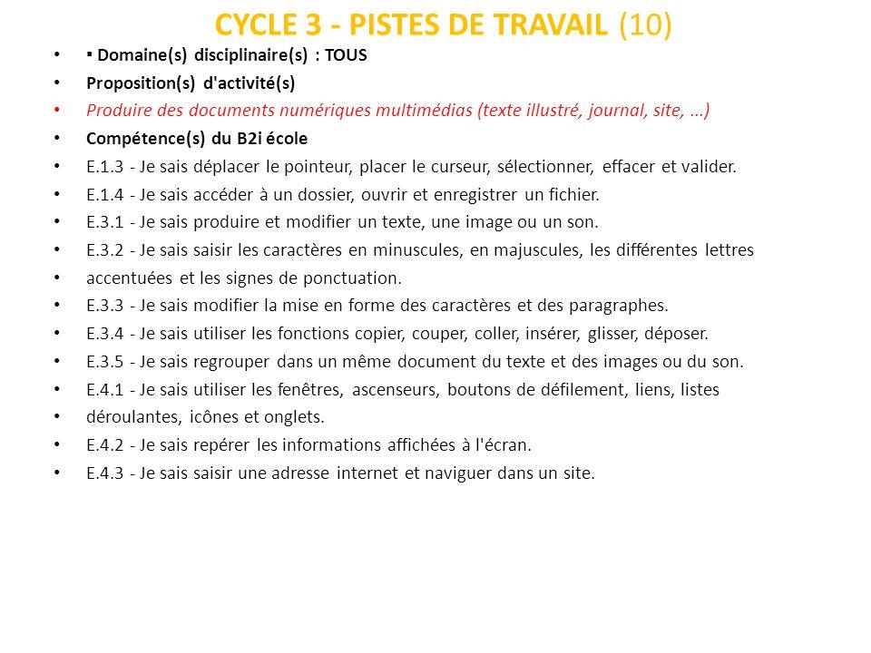 CYCLE 3 - PISTES DE TRAVAIL (10) Domaine(s) disciplinaire(s) : TOUS Proposition(s) d'activité(s) Produire des documents numériques multimédias (texte