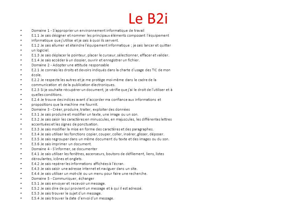 Le B2i Domaine 1 - S'approprier un environnement informatique de travail E.1.1 Je sais désigner et nommer les principaux éléments composant l'équipeme