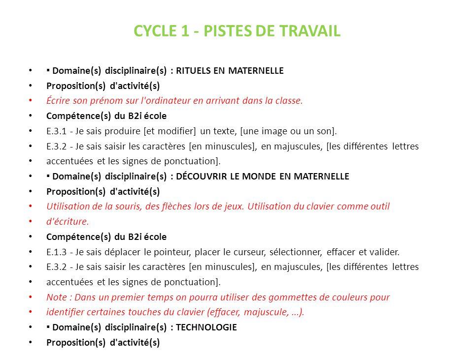 CYCLE 2 - PISTES DE TRAVAIL (1) Domaine(s) disciplinaire(s) : DÉCOUVRIR LE MONDE EN MATERNELLE Proposition(s) d activité(s) Utilisation de la souris, des flèches lors de jeux.