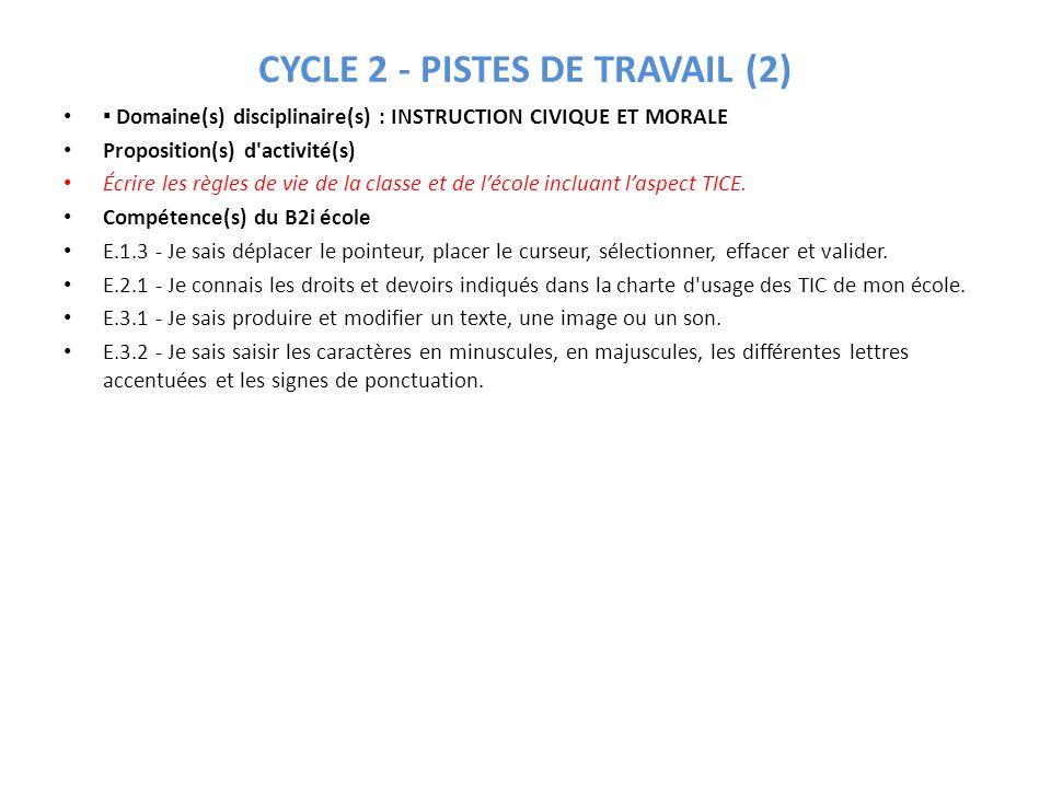CYCLE 2 - PISTES DE TRAVAIL (3) Domaine(s) disciplinaire(s) : INSTRUCTION CIVIQUE ET MORALE Proposition(s) d activité(s) Mise en place de responsabilités dans le fonctionnement quotidien de la classe.